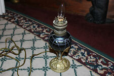 Antique Art Deco Converted Gas Table Lamp-Purple Glass Center Vein Sphere-LQQK