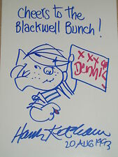 "Hank Ketcham Autographed Hand Drawn Sketch of ""Dennis the Menace"" w/COA..RARE"