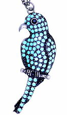 Large antique silver and turquoise coloured parrot bird pendant necklace