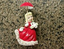 Vintage Napco Christmas Shopper Girl - Original Umbrella 1956 #1697