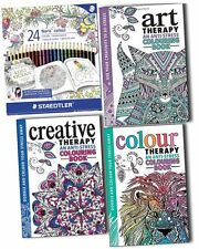 Art Therapy Anti Stress Adult Colouring 3 Books with Staedtler 24 Colour Pencil