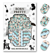 BORN PRETTY Water Decals Fret Checked Nail Art Transfer Sticker Decoration BPY01