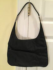 Authentic GUCCI Black Nylon Canvas Hobo-Style HANDBAG SHOULDER BAG 001-3167-3754