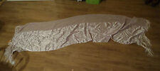 Lilac ladies satin material scarf / shawl with tassles condition