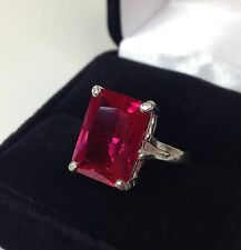 BEAUTIFUL 8ct Emerald Cut Ruby Ring Sterling Silver Size 6 5 7 8 9 NWT L
