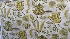 FABRICUT FLORAL STYLIZED DESIGN OLIVE LIME LEAF GREEN  COTTON UPHOLSTERY FABRIC