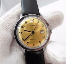 "TIMEX,70's,Manual Wind.""Round Date/just Golden Dial"" CLASSIC! MEN'S WATCH,440"