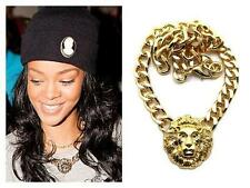 BLOGGERS FAV CELEBRITY STYLE LION HEAD CHUNKY GOLD CHAIN NECKLACE NEW RIHANNA
