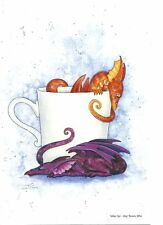 "Amy Brown Art Print 6""x9"" Orange & Purple Dragon Tea Cup Coffee Mug Wake Up New"