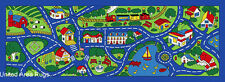 "2'5""x6'6""  Runner Rug Play Road Driving Time Street Car Kids City Time BLUE  3x7"