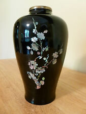 "Black Enameled 8"" Brass Vase Inlaid With Mother of Pearl. NICE!"
