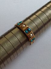 Lovely Victorian 15ct Gold Turquoise & Seed Pearl Set Ring - Circa 1880