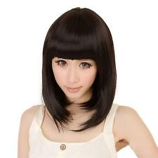 Cute Women Girl Cosplay Black Straight Neat Bang Hair Short Full Wig + Free Cap