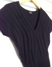 Wolford Ribbed Wool Blend V Neck Top S Black