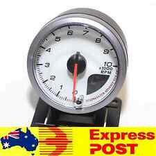 60mm White Tacho Tachometer Rev Gauge 0 - 10,000 RPM Meter Petrol Car 4WD Turbo
