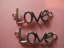4 TIBETAN SILVER LOVE CONNECTORS CHARMS BEADS RETRO BRACELET HOOKS CHAINS HOOKS