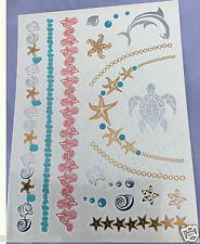 90s Temporary Metallic Tattoo Gold Silver Black blue Flash Tattoos Inspired 1p