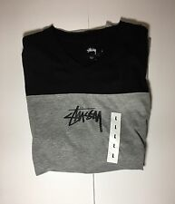 Stussy T-Shirt Double Stripe V-Neck Grey / Black Men's Size Large NEW