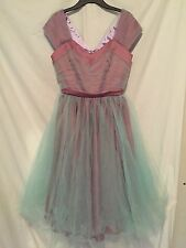 Pin Up Girl Clothing Mauve Purple Pale Blue Tulle Dress Lesley-Ann Size Medium
