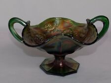 ANTIQUE FENTON WREATH of ROSES IRIDESCENT GREEN CARNIVAL GLASS STEM HANDLE DISH