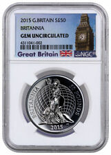2015 ~GREAT BRITAIN~ 50 POUND ~1~OZ~SILVER~ BRITANNIA ~ GEM UNCIRCULATED ~$99.88