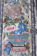 Beautiful Antique Hand Emb Blind Stitch Chinese Silk Panel~Gold Metallic Thread