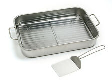 NORPRO 272 Stainless Lasagna Roast Turkey Baking Pan With Rack and Spatula