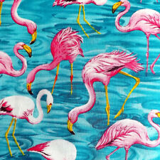 Fit To Print FLAMINGO REEF Tropical Paradise Lagoon Bird Fabric - Turquoise