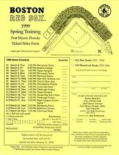 1999 Boston Red Sox Spring Training Ticket Order Form/Home Schedule