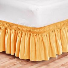 Elastic Bed Skirt Dust Ruffle Easy Fit Wrap Around Yellow Color Queen Size