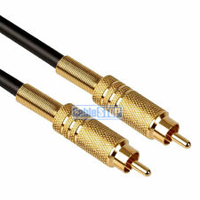 15M HQ PRO SUBWOOFER Cable RCA Phono PLUG to PLUG Lead GOLD
