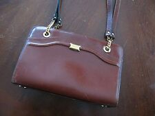 Bally Classic Dark Amber Shoulder Strap Handbag Purse Leather Bag
