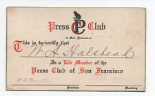1930s Press Club of San Francisco Lifetime Membership Card