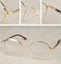 Retro Vintage Oval Gold Eyeglass Frame Man Women Plain Glass Clear Full-Rim Gold