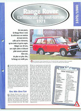 Range Rover 1971 England Angleterre Car Auto FICHE FRANCE