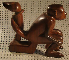 Wooden Hand Carved Sitting Monkey