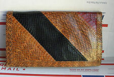 Vintage Genuine 3-Tone Snakeskin Bi-Fold Wallet/Clutch Bag Purse Unknown Maker