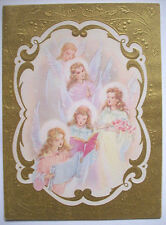 Angel Choir singing CHRISTMAS VINTAGE GREETING CARD *e