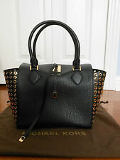 New Auth Michael Kors Miranda Grommet-Side Leather Tote Handbag Shoulder Bag