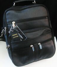 Leather Messenger Bag Shoulder laptop Briefcase Genuine Black Leather FREE SHIP