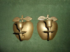 SET 2 VTG BRASS APPLE SHAPED WALL PLAQUES/SCONCES/CANDLESTICK HOLDERS INDIA