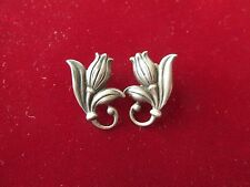 VINTAGE STERLING SILVER TULIP EARRINGS VERY DELICATE  DESIGN SCREW BACK