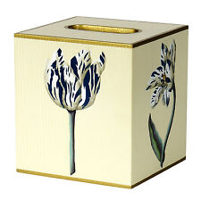 Tissue Box Cover Square Wood Bathroom Accessories Dispenser Holder Blue Floral