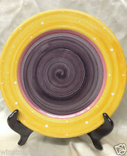 "ESSEX COLLECTION BOIS D'ARC TUTTI FRUTTI DINNER PLATE 10 1/2"" YELLOW RIM PURPLE"