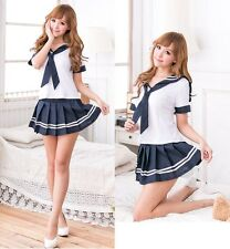 Estilo japonés Blanco y Azul Marino Dulce School Girl Cosplay Fancy Dress Costume, Reino Unido S-M