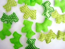 60 Felt+Satin Polka Dot+Plaid Fabric Scottie Dog Puppy Applique/Craft H319-Green