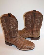 Dan Post Men DP2807 Denver COWBOY EXOTIC CAIMAN Square Toe WESTERN Boots 10.5 EW