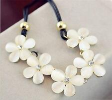 Chunky Opal Crystal White Flower Pendant Choker Leather Statement Bid Necklace