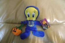 WB Looney Tunes TWEETY BIRD IN SKELETON COSTUME Bean Bag Plush with Tags 1999