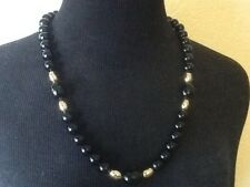 Vintage Necklace Timeless Black Plastic Beads Gold Bead Accents